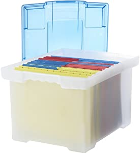 Storex Plastic File Tote Storage Box With Snap On Lid, Letter/Legal Size,  Clear (61508U01C)