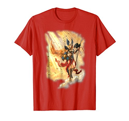 Fantasy Womens Yellow T-shirt - Norse Viking Valkyrie Asatru Fantasy Art T-shirt