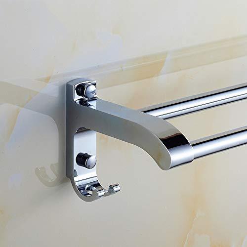 Towel Towel Towel Rack Doppelter Handtuchhalter aus Edelstahl, Bad mit Haken zum Aufhängen, Größe  80 cm B07M86KXNZ Handtuchhalter & -stangen e21690