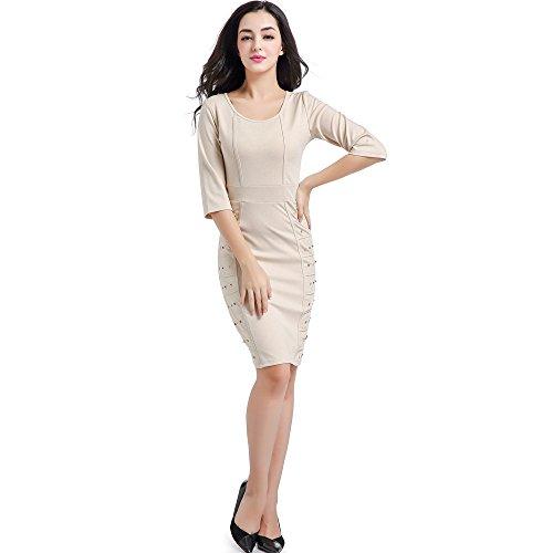 政府腐ったとにかくレディース鉛筆スリムワンピース/気質リベットワンピース/女性用ドレス