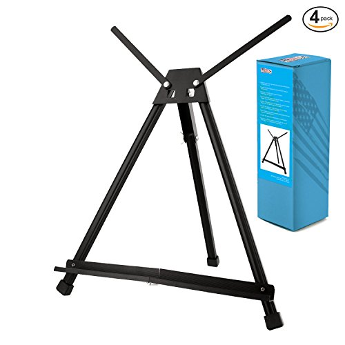 US Art Supply Table Top Aluminum Tri-Pod Artist & Display Easel 4-Easels (Large - Double Arm) by US Art Supply