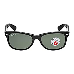 Ray-Ban NEW WAYFARER - BLACK Frame CRYSTAL GREEN POLARIZED Lenses 55mm Polarized