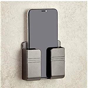 STRIFF Phone Holder Wall Mounted, Damage-Free Wall Mount for Smartphones, Cellphone Stand Charging Holder for iPhone (Black)