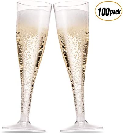 100 Pack Plastic Champagne Flutes 5 Oz Clear Plastic Toasting Glasses Disposable Wedding Thanksgiving Party Cocktail Cups 1