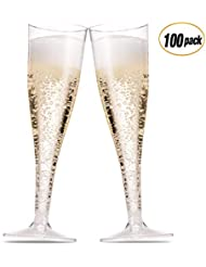 100 Plastic Champagne Flutes ~ 5 Oz Clear Plastic Toasting Glasses ~ Disposable Wedding Thanksgiving Party Cocktail Cups