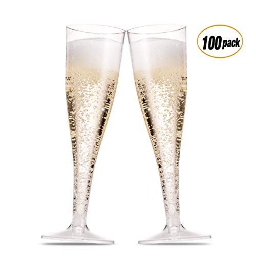 (100 Pack Plastic Champagne Flutes 5 Oz Clear Plastic Toasting Glasses Disposable Wedding Thanksgiving Party Cocktail Cups)