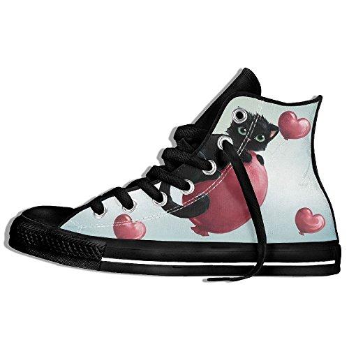 Classiche Sneakers Alte Scarpe Di Tela Anti-skid Gattino Palloncino Casual Da Passeggio Per Uomo Donna Nero