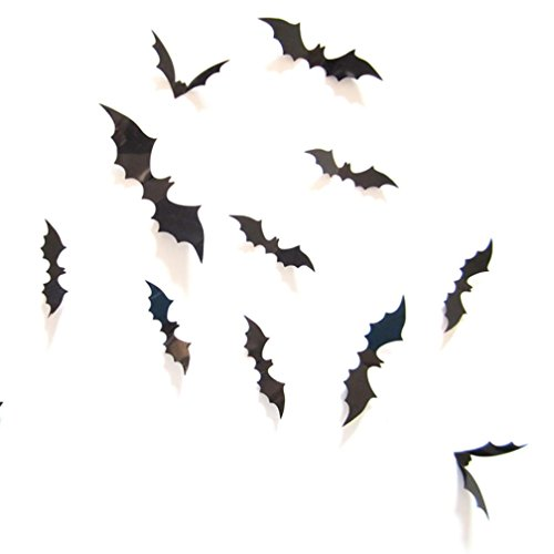 SMTSMT 12pcs Black 3D DIY PVC Bat Wall Sticker (Halloween 90s Mix)