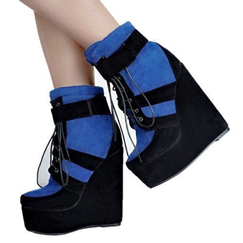 Wadge Fashion Kolnoo Lace Ankle Handmade Womens Shoes up suede Kid Heel Black Patchwork Party Boots 7Eq7xr8