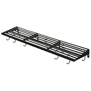 MyGift Wall Mount Pot Rack, Kitchen Storage Shelf w/ Pan & Utensil Hooks, Black