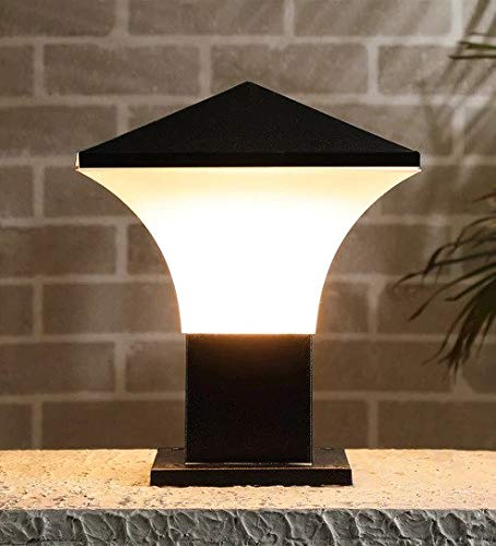 Carsten Gate001 Classy Design Pillar Gate Light for Home Outdoor (Black and Milky White)