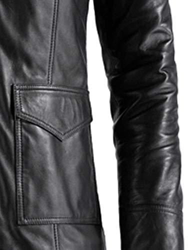 Amazon.com: vearfit clásico auténtico piel negro Blazer para ...