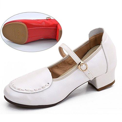 Herbst Damen White Tanzschuhe Absatz Frauen Weicher schuhe Von 2 Schuhe Atmungsaktiv Farbe Boden Arten PENGFEI Stiefeletten Stilen Farben 2 2 Mittlerer wCHnIxq5q