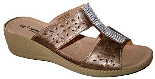 Cushion Bout Diamante Bronze Walk Ouvert Femme r5gWwrq8