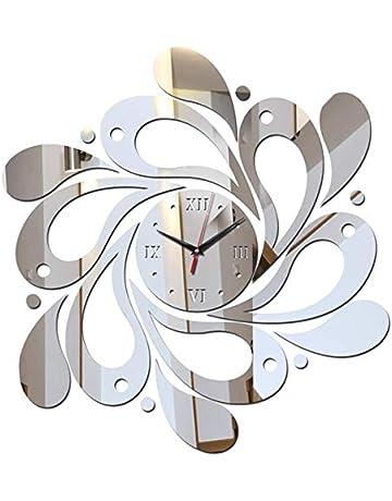 fish Espejo de Pared Reloj Etiqueta Conjunto 3D Decoración Cartel Calcomanías PS Flor Parche decoración de