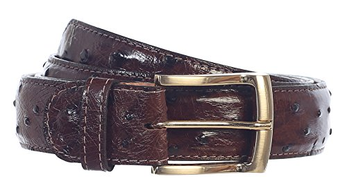 GIFT_Men's Premium Handmade Genuine Ostrich Leather Belt_MULTI COLORS (36, Brown) by 8 Moon