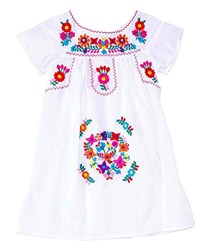 unik Traditional Mexican Girl Embroidered Dress White Size 8]()