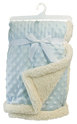 Stephan Baby Snuggle Fleece Crib Blanket, Reversible Plush and Sherpa, - Blanket Reversible Blue