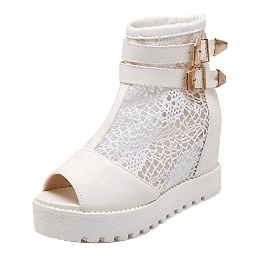 COOLCEPT Fashion White Summer Bootie Women Zipper 2 Rr6PqR