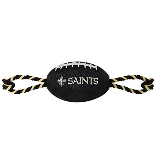 Pets First NFL New Orleans Saints Football Dog Toy, Tough Nylon Quality Materials with Strong Pull Ropes & Inner Squeaker in NFL Team Color