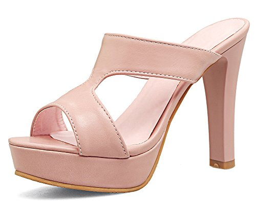 High Shoes Heel Block Sexy (IDIFU Women's Sexy Open Toe High Block Heels Platform Mules Sandals (Pink, 7.5 B(M) US))