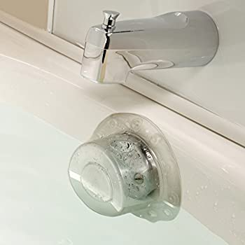 """SlipX Solutions Bottomless Bath Overflow Drain Cover Adds Inches of Water to Tub for Warmer, Deeper Bath (Clear, 100% Recyclable, 4"""" Diameter)"""