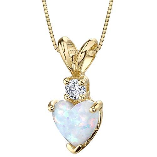 14 Karat Yellow Gold Heart Shape Created Opal Diamond Pendant (Opal Diamond Necklace)