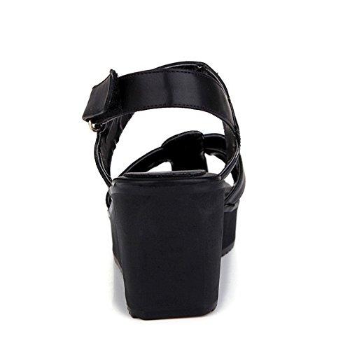 TAOFFEN Mujer Gladiador Wedge Sandalias Tacon Medio Plataforma Verano Zapatos De Hebilla Negro