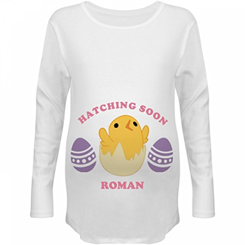Easter Baby Hatching Soon Roman: Maternity Long Sleeve Tee (Roman Outfits For Womens)