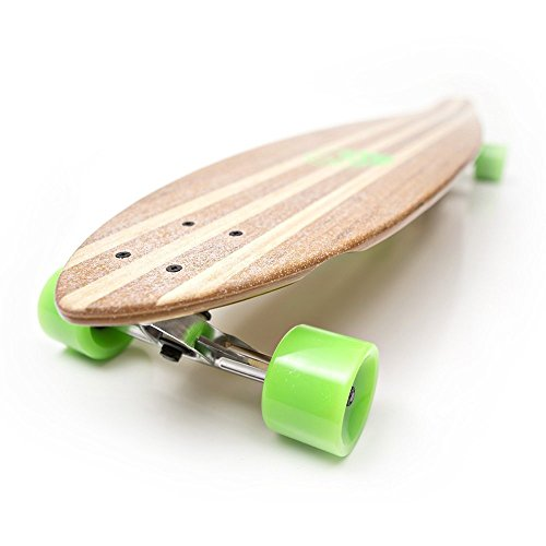White Wave Pintail Bamboo Longboard Skateboard (40 inches) (Heat Longboard)