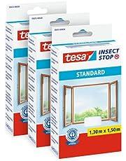 tesa Insect Stop Standard Vliegenhor voor Ramen - Set van 3 pack - Insectenhor, raamhor - Met klittenband - Snij uw eigen horraam op maat - Muggenhor, Wit, 130 cm x 150 cm