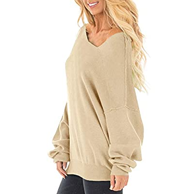 Auxo Womens Off The Shoulder Tops Baggy Shirt Long Sleeve Blouse Oversized Sweater Jumper Pullover at Women's Clothing store