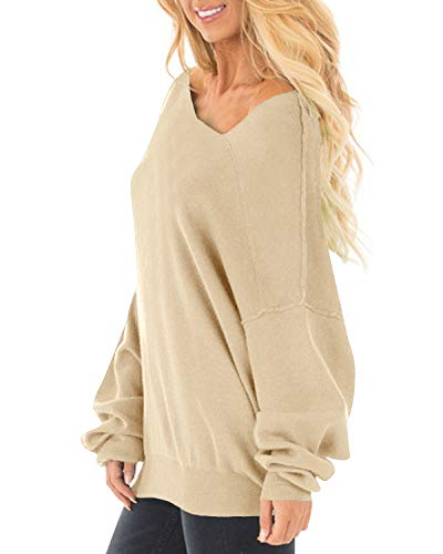 71fbaa476fe Auxo Womens Off The Shoulder Tops Baggy Shirt Long Sleeve Blouse Oversized  Sweater Jumper Pullover Beige US 4/Asian S