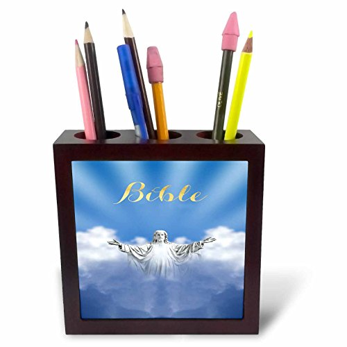 3dRose TDSwhite – Miscellaneous Photography - Bible Religious Jesus Heaven Clouds - 5 inch Tile Pen Holder (ph_285319_1) by 3dRose