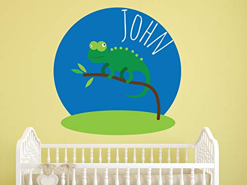 Yilooom Lizard & Boy's Name Wall Decal - Green Reptile Wall Decor - Children Personalized Name Home Decoration - Nursery Vinyl Wall Art - Boy Decor - 22 inches