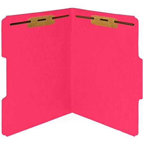 50 Red Fastener File Folders- 1/3 Cut Reinforced tab- Durable 2 Prongs Bonded Fastener Designed to Organize Standard Medical Files, Law Client Files, Office Reports- Letter Size, Red, 50 Pack