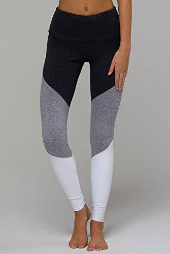 Onzie High Rise Track Legging-Black Colorblock-M/L Womens Active Workout Yoga Leggings Grey Multi