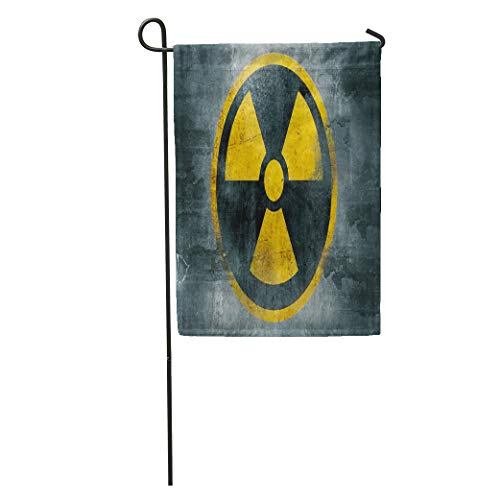 Semtomn Garden Flag Yellow Nuclear Radioactive Symbol Reactor Sign Radiation Waste Hazard Abstract Home Yard House Decor Barnner Outdoor Stand 12x18 Inches Flag