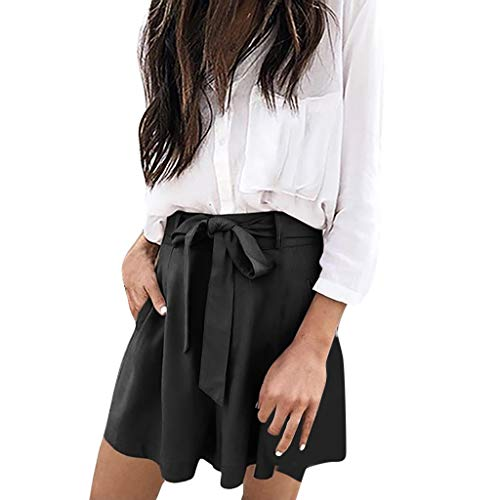 BAOHOKE Loose Wide Leg Casual Summer Thin Shorts,Solid Color Cozy Strappy Pocket Pants for Women(Black,XL) ()