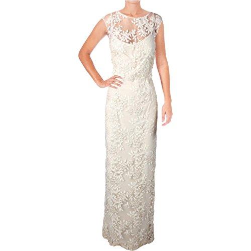 Lauren Ralph Lauren Womens Petites Mesh Floral Evening Dress Ivory 2P by Lauren by Ralph Lauren