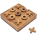 2D Tic Tac Toe XOXO: Handmade & Organic Traditional Wood Game for Adults from SiamMandalay with SM Gift Box(Pictured)