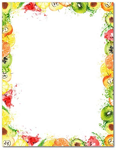 Fruit Splash Stationery Paper - 80 Sheets - Great for Summer - Fruit Stationery