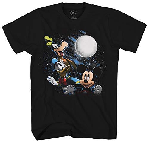 - Disney Three Trio Moon Mickey Mouse Goofy Donald Duck Men's Adult Graphic Tee T-Shirt (Black, X-Large)