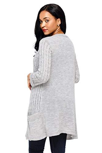 A Casual Casuale Comodo Donna Lunghe Donne Lunga Tasche Autunno Fashion Cappotto Con Battercake Outerwear Giacca Knit Elegante Maniche Grau Leggero Relaxed Maglia 6qZ75w