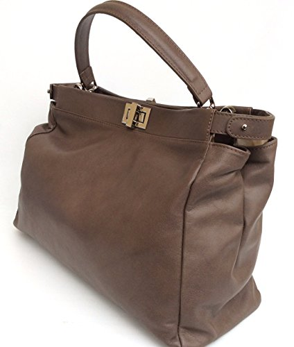Firenze in in vera modello Superflybags pelle Taupe Scuro Made Italy sauvage Borsa Donna morbida aEwqHTq8x
