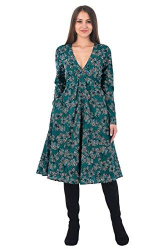 Floral Print Banded Empire Dress (eShakti Women's Floral print crepe banded empire dress 3X-26W Short Teal/off-white/black)