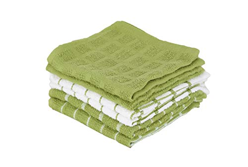 "- Ritz 100% Terry Cotton, Highly Absorbent Dish Cloth Set, 12"" x 12"", 6-Pack, Cactus Green"