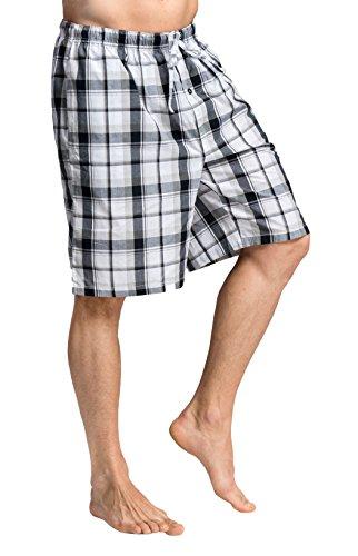 CYZ Men's 100% Cotton Plaid Poplin Woven Lounge/Sleep Shorts-F1726-S (Plaid Woven Shorts)