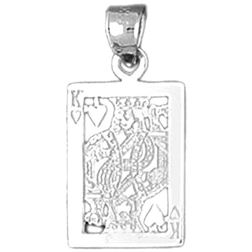 Jewels Obsession Playing Cards, King Of Spades Pendant | Sterling Silver 925 Playing Cards, King Of Spades Pendant - 24 mm