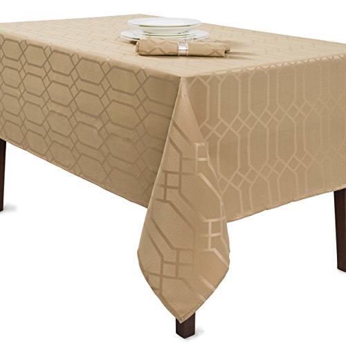 Benson Mills Solid Chagall Spillproof Fabric Tablecloth, 60x104, Wheat